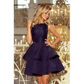 LAURA podwójnie rozkloszowana sukienka z koronkową górą - GRANATOWA XL zdjęcie 1