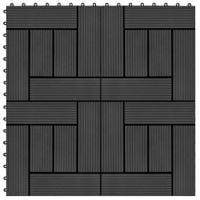 Płytki tarasowe, 11 szt., WPC, 30 x 30 cm, 1 m², czarne