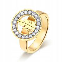 Złoty sygnet pierścionek obrączka pióro piórko