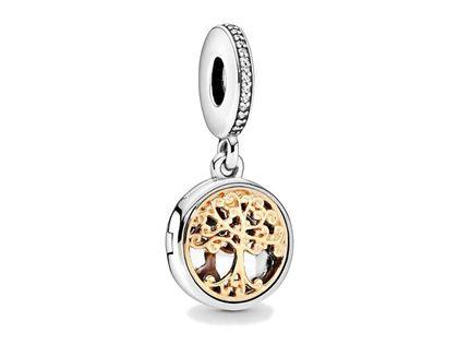 Rodowany srebrny wiszący charms do pandora pozłacane drzewo życia cyrkonie srebro 925 DZ094-2