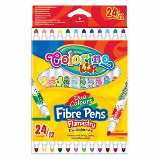 Flamastry dwukolorowe 12 szt./24 kolory Colorino