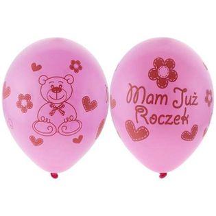"""Balony 12"""", """"Mam już Roczek"""", różowe, GEMAR, 5 szt"""