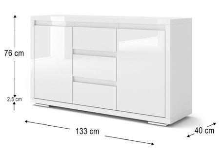 Komoda NORDIC BIANCO II biały lakier wysoki połysk
