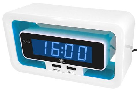 XONIX 723 Budzik LED, zasilany sieciowo, 2 niezależne porty USB, alarm, drzemka