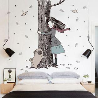 Naklejki na ścianę ścienne Drzewo Dziewczynka WS-0291