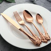 LUKSUSOWE Sztućce - GRAWEROWANE - Zestaw Obiadowy 24 Szt Różowe złoto 6 Osób 24 Szt