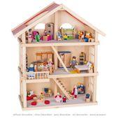 Duży Drewniany domek dla lalek 3 piętra GOKI