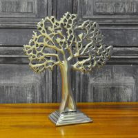 Srebrne Metalowe Ozdobne Drzewo Stołowe 23Cm