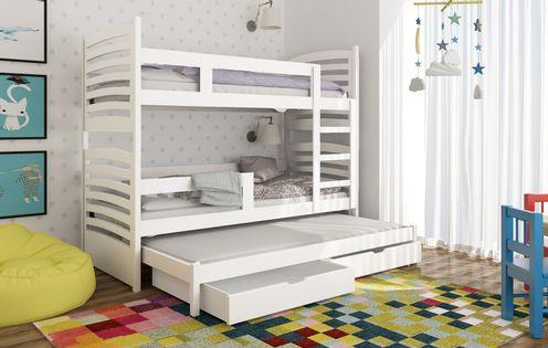 Trzyosobowe łóżko piętrowe dla dzieci Janek z materacami