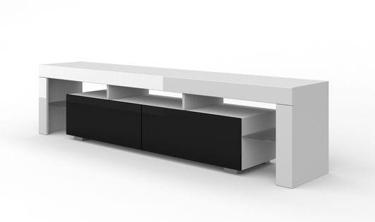 Szafka RTV 190 cm biały / czarny wysoki połysk stojąca