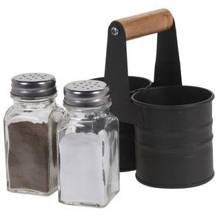 Solniczka + pieprzniczka / przyprawnik w stojaku