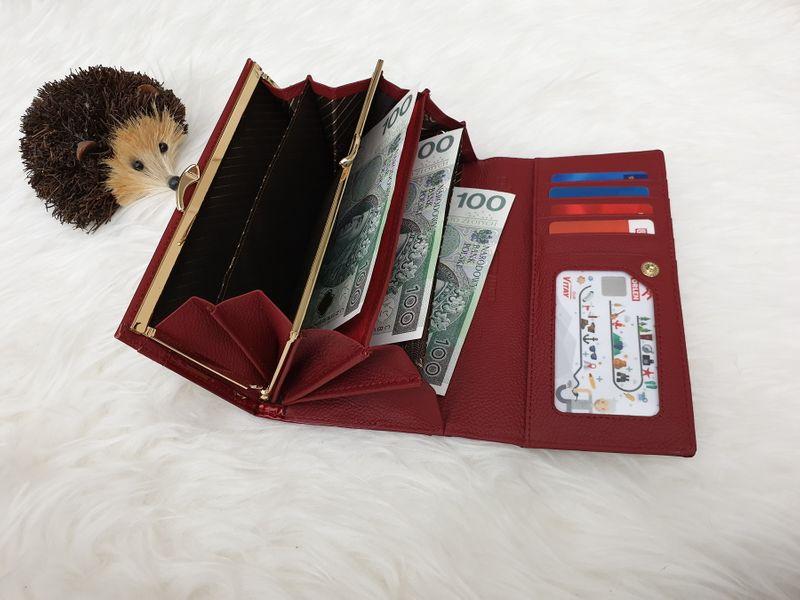 ROVICKY portfel skórzany damski lakierowany liście RFID P090 czerwony zdjęcie 6