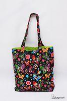 Torba na zakupy Shopperka zakupowa bawełniana torba motyle folk green