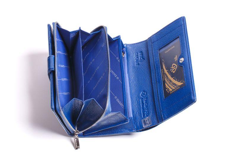 Mały portfel skórzany damski Zagatto granatowy liście RFID ZG-113 Leaf zdjęcie 8