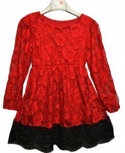 Sukienka czerwona koronka Lili roz.140