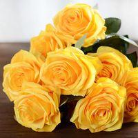 Sztuczne Kwiaty - RÓŻE - Dekoracja Na Przyjęcia Zółty