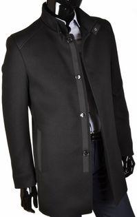 Elegancki płaszcz flauszowy Norbi Czarny 62 182/188 Polski producent