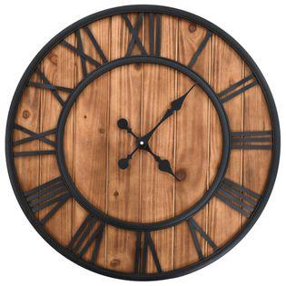 Zegar Z Mechanizmem Kwarcowym, Drewno I Metal, 60 Cm, Xxl