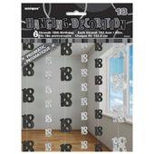 Dekoracja wisząca na 18 urodziny 6szt czarno srebr zdjęcie 2
