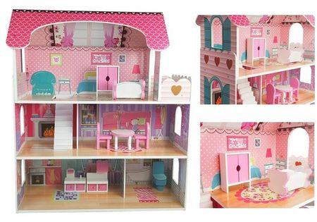 Domek dla lalek Drewniany Villa Milena Różowy
