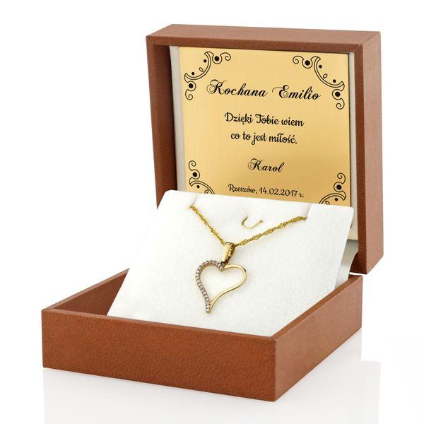 Złoty komplet 585 serce Prezent Walentynki GRAWER zdjęcie 2