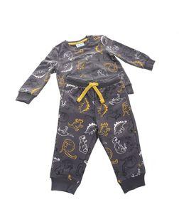 PEPCO Chłopięca, dwuczęściowa, szara piżama z dinozaurami