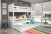 Łóżko meble dla dzieci drewniane Mateusz 190x80 piętrowe 3osobowe zdjęcie 4