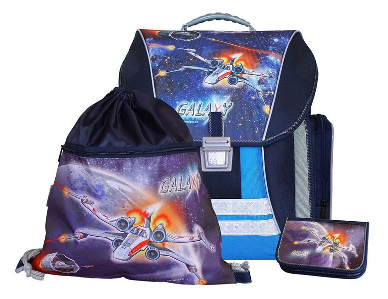 122e5c915af46 Plecak szkolny firmy EMIPO w zestawie tornister Galaxy +piórnik+worek  zdjęcie 1