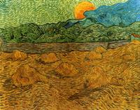 Reprodukcje obrazów Evening landscape with rising moon - Vincent van Gogh Rozmiar - 90x70