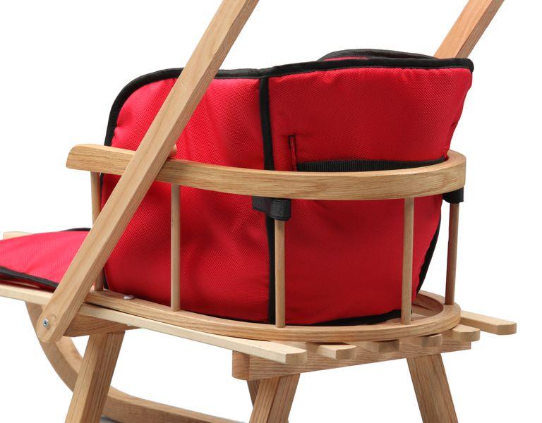 SANKI drewniane dla dzieci z materacykiem i popychaczem zdjęcie 6