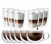Zestaw Szklanek Termicznych z Podwójną Ścianką Cappucino Latte 12szt