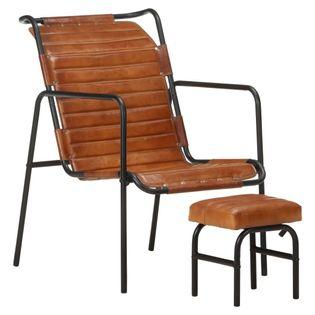 Lumarko Fotel wypoczynkowy z podnóżkiem, brązowy, skóra naturalna!