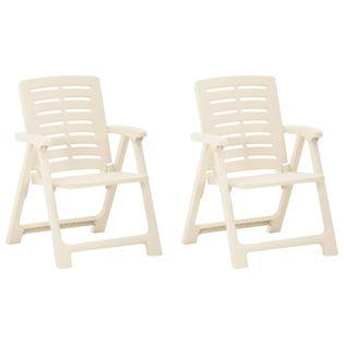 Lumarko Krzesła ogrodowe, 2 szt., plastikowe, białe;