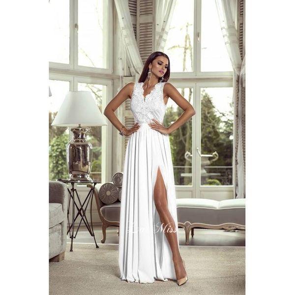 94e59a39dc Długa biała sukienka koronkowa ślubna wesele bez rękawa 36