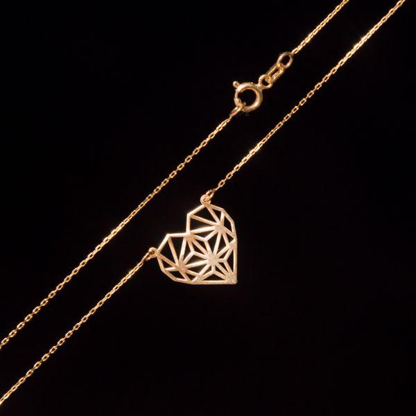 Złoty Naszyjnik Celebrytka Serce Origami Grawer zdjęcie 5
