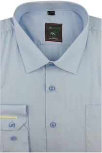 Koszula Męska Laviino gładka błękitna na długi rękaw w kroju REGULAR A175 XL 42 182/188