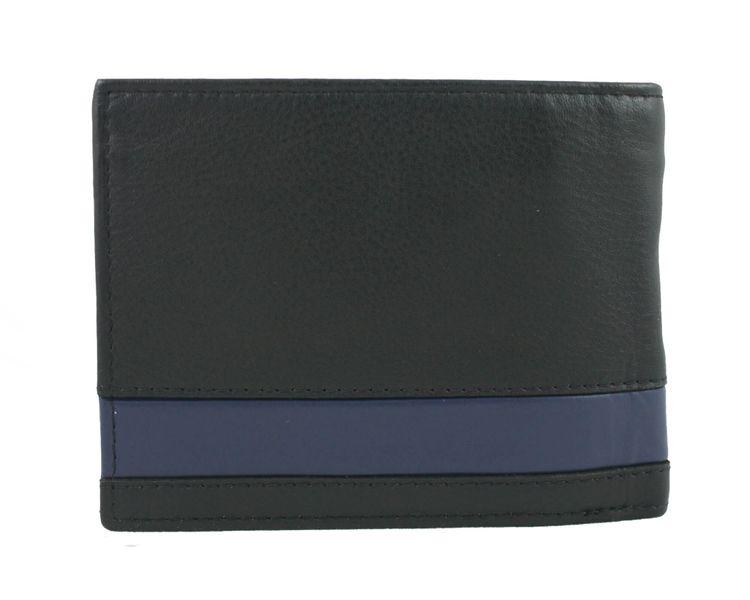 8e60a01ec25f4 Skórzany portfel męski Pierre Cardin RFID czarny z niebieską wstawką  zdjęcie 3