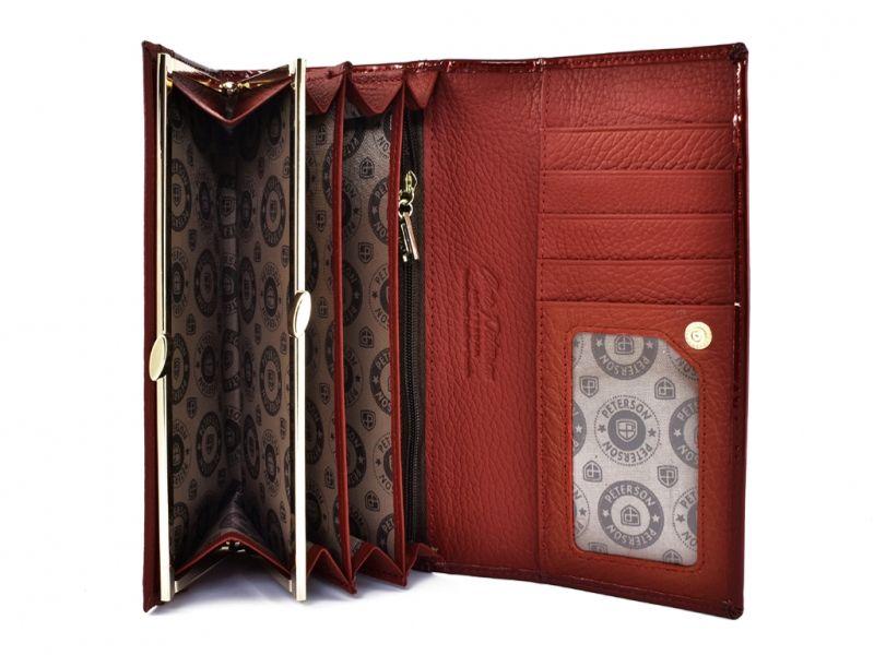 Duży czerwony portfel damski, lakierowany, RFID, Peterson zdjęcie 3
