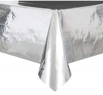 Obrus foliowy srebrny metaliczny 137x274cm Urodzin