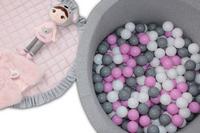 Suchy basen dla dzieci + 200szt. piłeczek - okrągły 90x40 -jasny szary