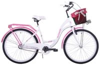 (26K19-S3) Rower miejski damski 26 Kozbike biało-różowy