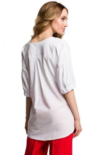 Bluzka asymetryczna biała wiskoza rękaw 3/4 gumka okrągły plisy kokardka na Arena.pl