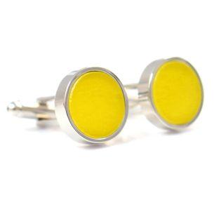Żółte spinki do mankietów koszuli A109