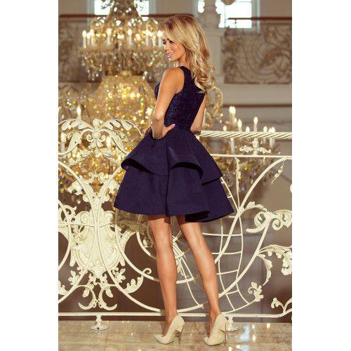 LAURA podwójnie rozkloszowana sukienka z koronkową górą - GRANATOWA XL zdjęcie 2