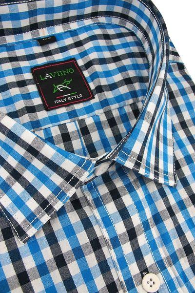 Duża Koszula Męska Laviino niebieska w kratkę na krótki rękaw duże rozmiary K922 3XL 47 182188