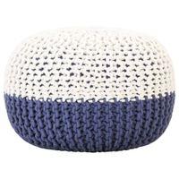 Puf, ręcznie dziergany, niebiesko-biały, 50x35 cm, bawełna
