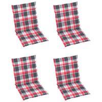 Poduszki na krzesła, 4 szt., czerwona krata, 100x50x4 cm