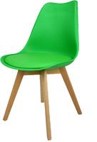 Skandynawskie krzesło KRIS FIORD z poduszką zielone BUKOWE NOGI