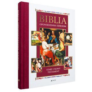 BIBLIA DLA DZIECI OPOWIEDZIANA DZIECIOM z grawerem PAMIĄTKA CHRZTU KOMUNII