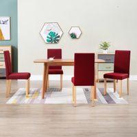 Krzesła do jadalni 4 szt. czerwone wino tapicerowane tkaniną VidaXL